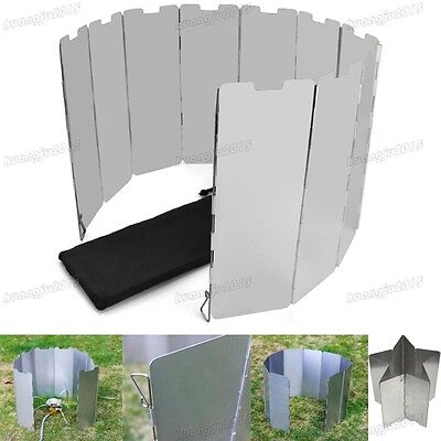 Outdoor Foldable 10 Plates Fold Camping Cooker Gas Stove Wind Shield Screen UK