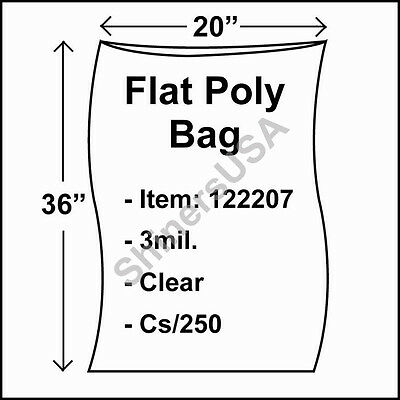 250 3-Mil 20x36 Clear Poly Bag Open Top Lay Flat Packaging 122207