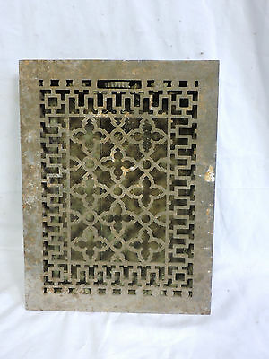 ANTIQUE LATE 1800'S CAST IRON HEATING GRATE UNIQUE ORNATE DESIGN 16 X 12   e