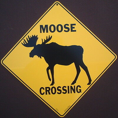 MOOSE CROSSING SIGN silhouette art decor home wildlife signs novelty animals