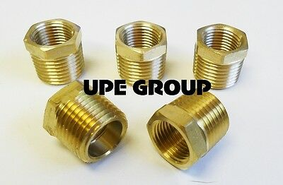 Brass Hex Bushing Reducing Npt Threads Pipe Fitting 1/2 Male X 3/8 Female  Qty 5