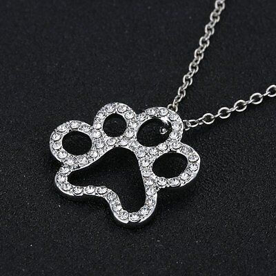 Dog Paw Footprint Silver Tone Crystal Pendant Necklace Chain Women's Jewellery