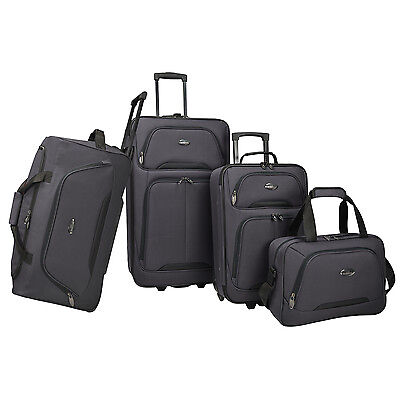 US Traveler Vineyard 4pc Lightweight Rolling Luggage Duffel Suitcase Tote Set
