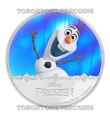 Olaf - 2016 Disney Frozen 1 Oz. Silver Proof Colored Coin New Zealand Mint NIUE