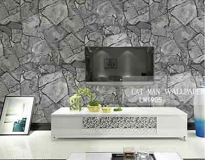 Marble Mosaic Stone Slate Rustic Grey Industrial / French Project Wallpaper 10M