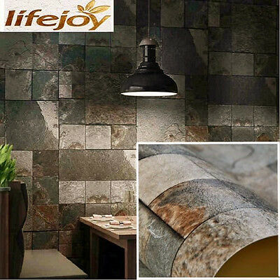 Dark Grey Stone Slate Rustic Marble Wallpaper Cafe Shop Industrial / French