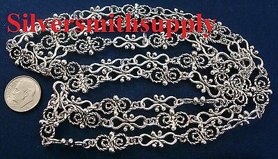 3' Antique silver plated filigree link jewelry chain necklaces bracelets ch089