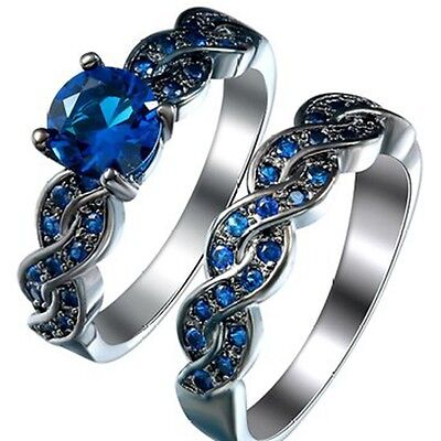 Size 3-12 Black Blue Sapphire Wedding Engagement Ring Set Anniversary Propose