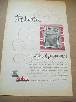 Seeburg Select-o-matic 100 phonograph 1954 Ad-the leader in style and performane