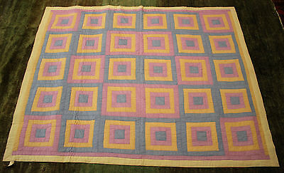 "C.1950 Canadian Handmade Quilt ""Blocks in a Box"""