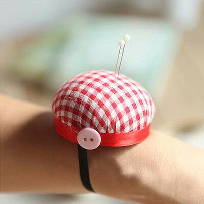 Portable Cute Red Plaid Check Wrist Pin Cushion Sponge Needle Bag Sewing Tailor