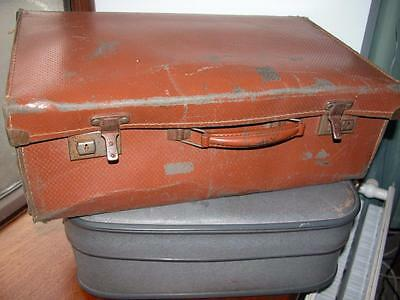 2 Small Vintage Brown Blue Suitcases Storage / Shop Display
