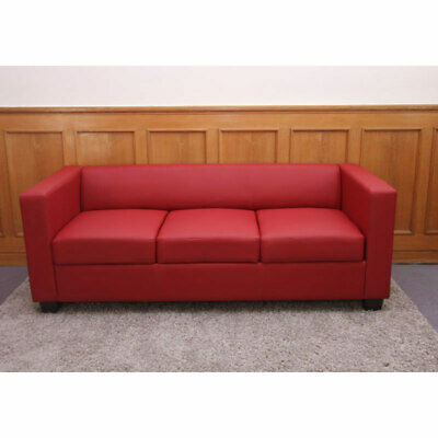 3er Sofa Couch Loungesofa Lille Leder, rot