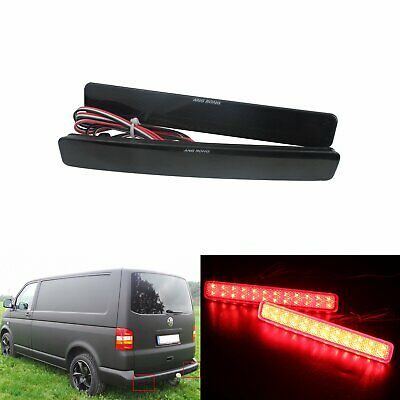Black Lens LED Rear Bumper Reflector Light VW T5 Transporter Caravelle Multivan