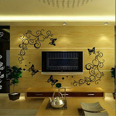 Beautiful Black Flower Vine & Butterfly Wall Sticker For Home Decoration Decal
