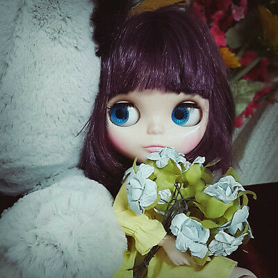 """Takara 12"""" Neo Blythe Nude Doll Short Purple Hair Joint Body from Factory TBY356"""