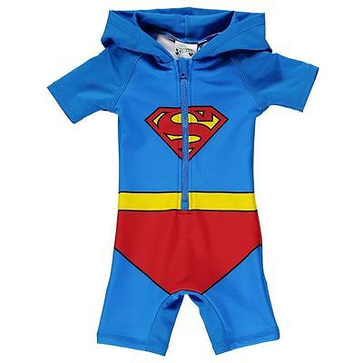 Superman Blue Baby Boys Hooded Swim Suit - BNWT