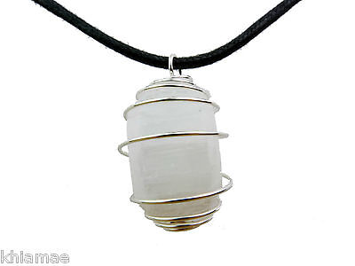 Selenite Silver Spiral Necklace black cord pendant gemstone crystal wicca pagan