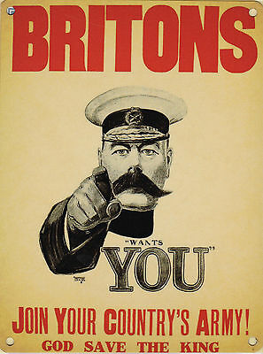 New BRITONS LORD KITCHENER WANTS YOU enamel style metal advertising sign WW1