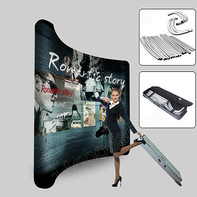 10FT Curved Tension Fabric Trade Show Display Booth Pop up Banner with graphic