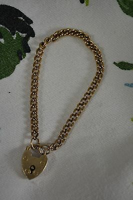 VINTAGE 9ct gold chain bracelet child's babies charm with padlock christening