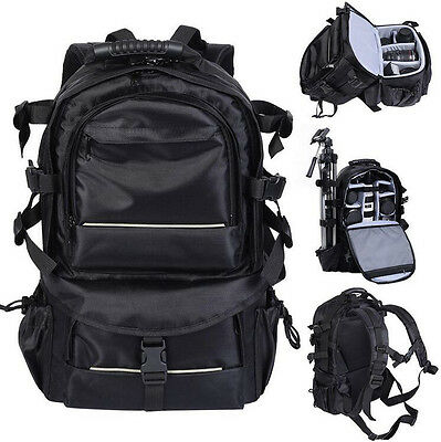 Waterproof Large BLK Backpack Bag Case for Camera Lens DSLR Canon EOS Nikon Sony