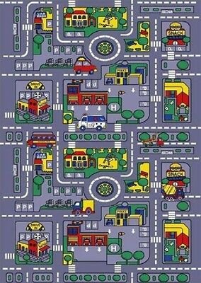 Area Rug Kid's Play Road Map Street Fun City Driving Time New 3x5