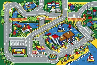 35 area rug play road driving time street car kids city map fun time new gray