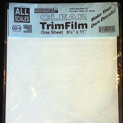 "Decal Paper Microscale Clear Trim Film Water-Slide 8.5"" x 11"" (1 Pack) 02-0"