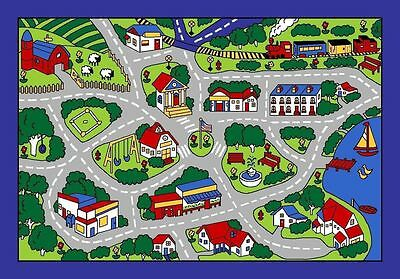 New 3' x 5' Area Rug Play Road Driving Time Street Car Kids City Fun Time Grey