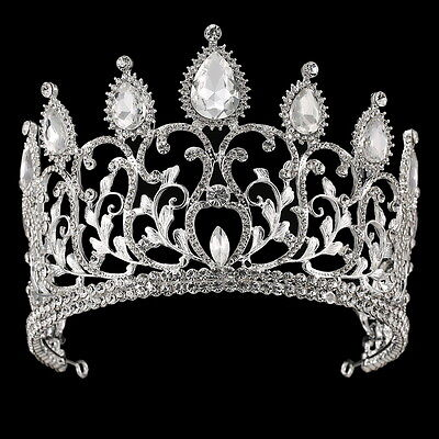 10cm High Adult Large Drip Crystal Wedding Bridal Party Pageant Prom Tiara Crown