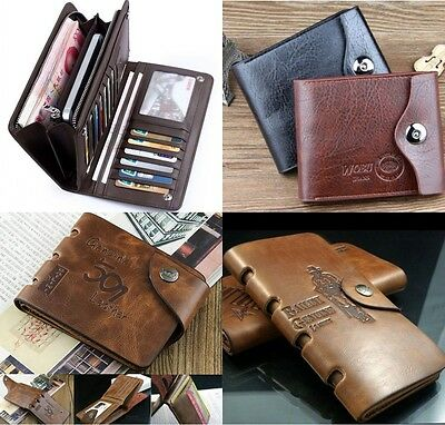 Mens Soft Real Leather Bifold Brown Wallet Credit Card Holder Coin Purse