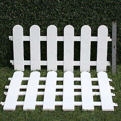 3 x LENGTHS WHITE PICKET PLASTIC LAWN GRAVE EDGING  FANCY H/DUTY FENCING 1.8mtr