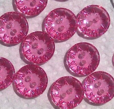 """set 12 bright pink Reverse molded old stock FLOWER pretty buttons 16mm - 5/8"""""""