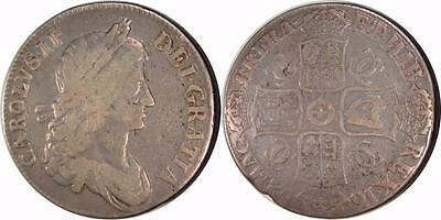 Great Britain: 1662 Charels II Silver Crown ** Fine **   Without Rose