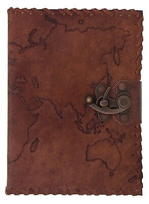 Leather Map Emboss Notebook Antique Journal Handicrafted With Lock Handmade book