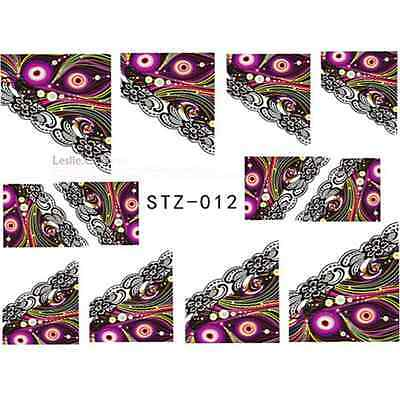 Nail Art Stickers Water Decal Nail Transfer Wraps Lace Multi Colour Retro Stz012
