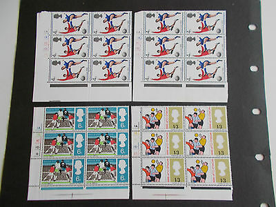 GB QEII 1966 World Cup in Cylinder Blocks of 6 (inc.Variety & 2x4ds) Cat £11.50