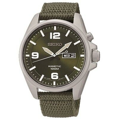 Seiko SMY141 P1 Kinetic Green Canvas Strap Men's Analog Watch With Retail Box