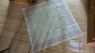 "Vintage Linen Tablecloth & Napkins PINK & GREEN PLAID BORDER 34""x34"""