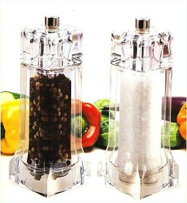 Gifts! Diamond Duo Salt & Pepper Mill Combo Acrylic and Stainless Steel 5.5""