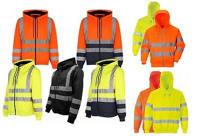 Hi Vis Visibility Safety Hooded Top Zip Sweat Shirt Work Hoodie Zip Hoodie