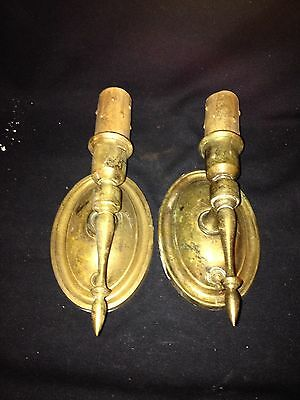 "1930's Pr 9 1/4"" Brass Light Fixture Sconces"