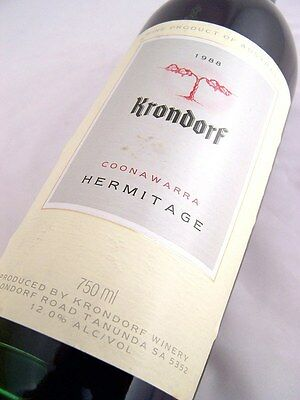 1988 KRONDORF Hermitage Shiraz Isle of Wine