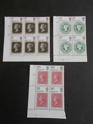 GB QEII 1970 Philympia in Cylinder Blocks of 4 (no dot) Superb M/N/H Cat £6