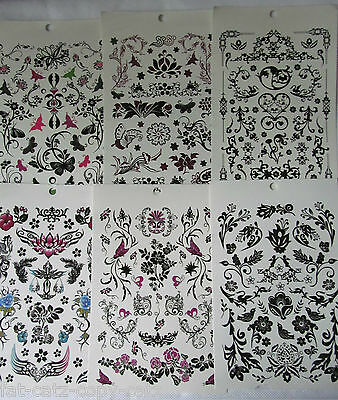 6x SHEETS GIRLS LADIES BLACK ARTY CELTIC TEMPORARY TATTOOS FLOWERS BUTTERFLIES