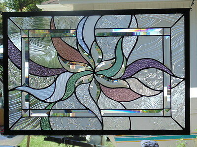 Stained Glass Window Abstract  Hanging 26 X 17 3/8