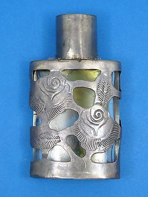 VIintage Taxco Mexico Sterling Silver Overlay Encased Glass Perfume Bottle