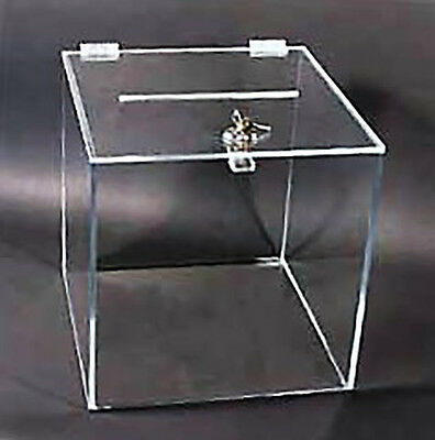 """Small clear acrylic Ballot Box with camlock and key 4"""" cube lucite plexiglass"""