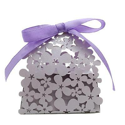 20pcs Laser Hollow Flowers Cake Candy Boxes Favors Gift Wedding Birthday Party